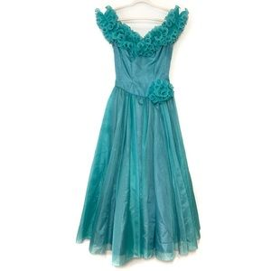 Vintage Formal Dress Mike Benet Blue Ruffle